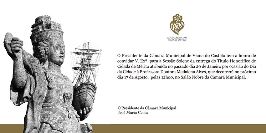Madalena Alves recebe amanhã título  honorífico de Cidadã de Mérito de Viana do Castelo