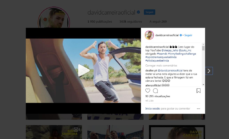 """David Carreira adere à """"moda"""" de sair do carro em andamento e dançar na estrada"""