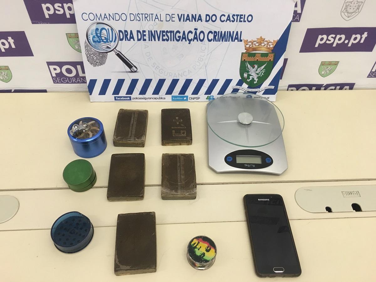 Detido na zona histórica de Viana jovem de 23 anos com 1.000 doses de haxixe
