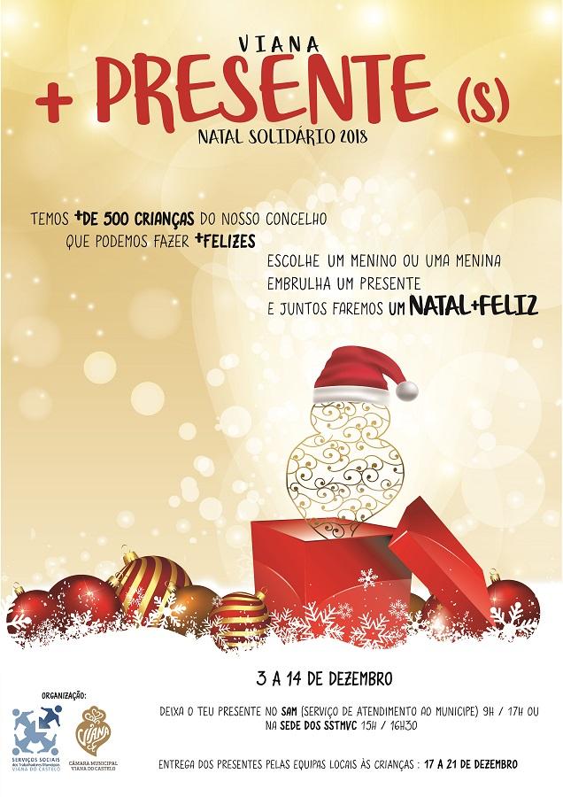"""Campanha """"Viana + Presente(s)"""" desafia funcionários municipais a oferecer prendas de Natal a 500 crianças"""
