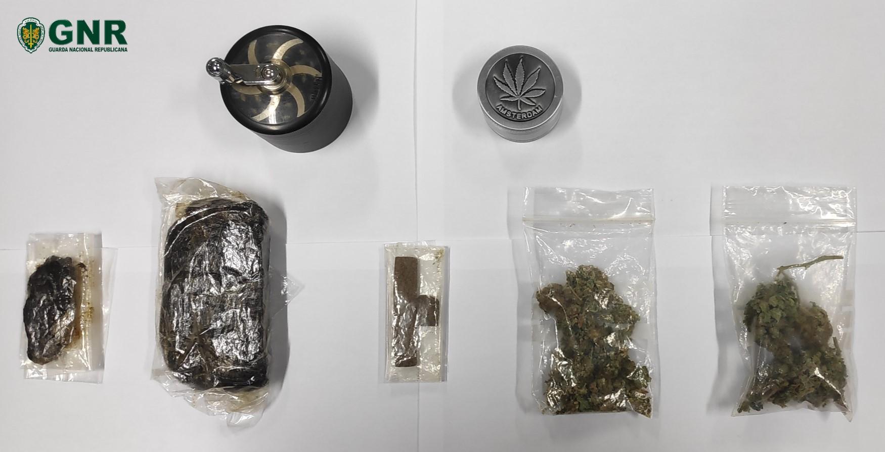 GNR detém jovem em Barroselas por tráfico de droga e apreende 232 doses de haxixe e liamba