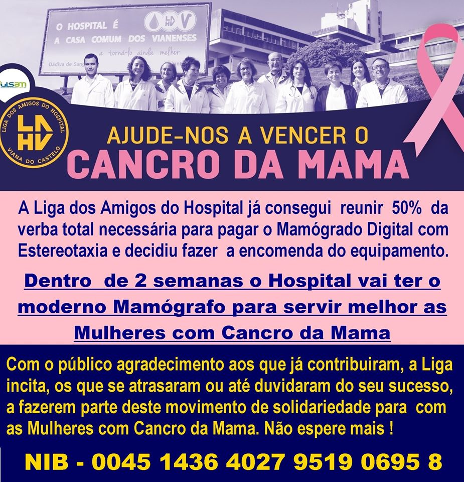 """Amigos do Hospital de Viana já encomendaram novo mamógrafo para """"servir melhor"""" mulheres com cancro da mama"""