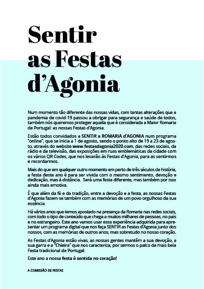 Romaria d'Agonia 2020 será sentida e vivida à distância